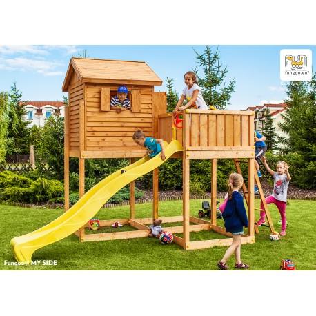 Fungoo MY SIDE дървена детска площадка с къщичка пързалка