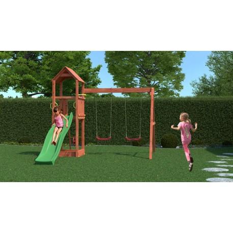 Fungoo FLAPPI 2 дървена детска площадка с пързалка и 2 люлки
