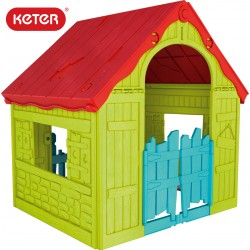 Keter Wonderfold сгъваема пластмасова къща за игра зелено/червено/синьо