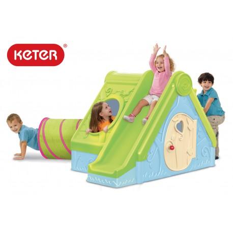 Keter Funtivity пластмасова къща с пързалка и тунел