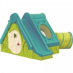 Keter Funtivity пластмасова къща с пързалка и тунел зелено/синьо