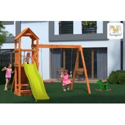 Fungoo FLATTI дървена детска площадка с пързалка и люлки