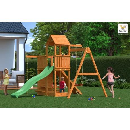 Fungoo ACTIVER дървена детска площадка с пързалка и люлки