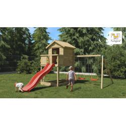 Fungoo GALAXY S дървена детска площадка с пързалка и 2 люлки
