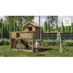 Fungoo GALAXY L дървена детска площадка с пързалка и 2 люлки
