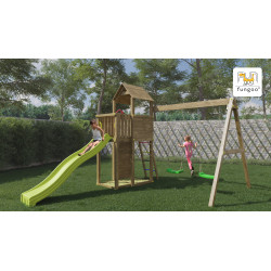 Fungoo Boomer3  дървена детска площадка с пързалка и 2 люлки